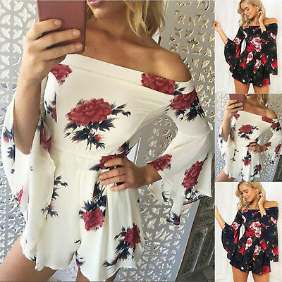 UK Boho Holiday Womens Off Shoulder Floral Playsuit Ladies Beach Shorts Jumpsuit