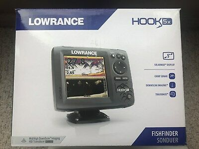 LOWRANCE 000-12653-001 HOOK-5X CHIRP Sonar with Mid/High/Downscan HDI  Transducer