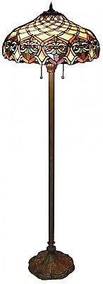 Tiffany Baroque Bronze Floor Lamp 60 in. Stained Glass Shade Traditional Elegant
