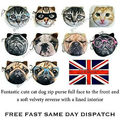 Cat Dog Coin Purse with Ears Gift Idea Cute Pug Dog Ginger Cat Pug in Glasses