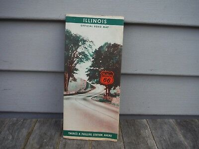 VINTAGE 1930'S PHILLIPS 66 OIL CO. ROAD MAP OF ILLINOIS oil can gasoline neat!