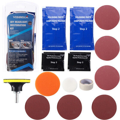 Headlight Lens Restoration Kit Repair Restorer Headlamp Polisher Cleaner Car New