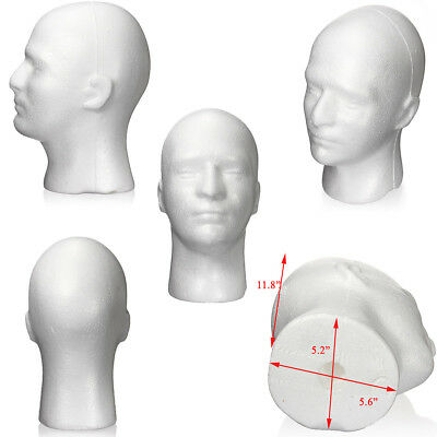 Male Men White Styrofoam Foam Mannequin Stand Model Display Head-Exclusive Price