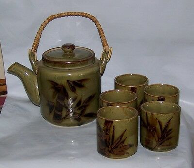 Vintage Green Tea Pot W/5 Cups  Set With Bamboo Handle & Design Japan?