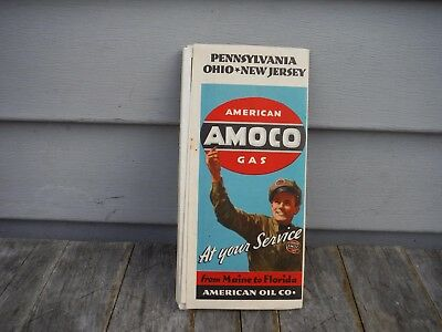 VINTAGE 1930'S AMOCO AMERICAN OIL CO. ROAD MAP of PENNSYLVANIA OHIO NEW JERSEY