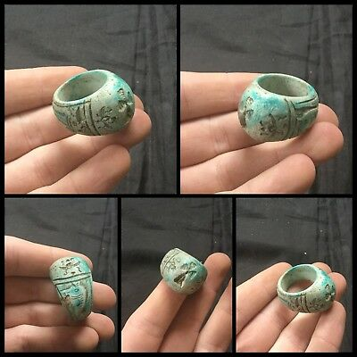 ANCIENT EGYPTIAN GALSS FAIENCE SCARAB BEETLE RING MIDDLE KINGDOM.c1500BC