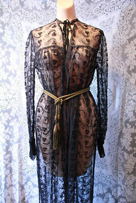 Sultry All Black Lace Vintage 1940s Nightgown Dressing Robe Lingerie
