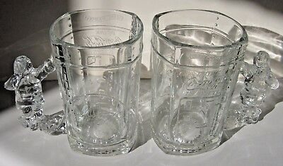 Coca Cola Glass Mugs with Santa Claus Handle drinking a coke Glass Stein Crystal