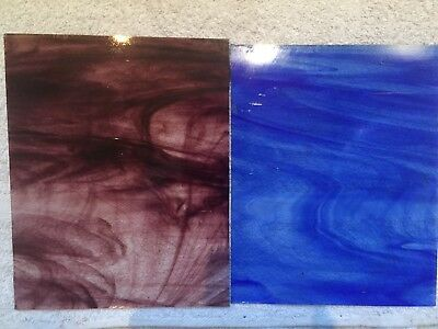 "2 Antique Hartley Woods Glass 10"" x 8"" Sheets."