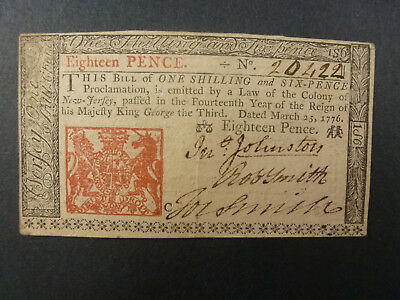 1776 Eighteen Pence United States New Jersey Colonial Paper Note  Circulated