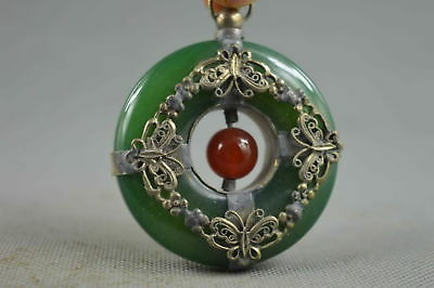 Collectible Handwork Miao Silver Carve Butterfly Inlay Jade Souvenir Pendant