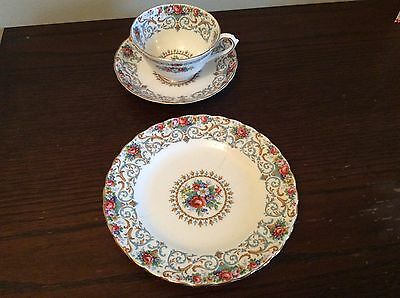 Tuscan China Tea Cup, Saucer & Plate. 'Cracked'. Orleans Design