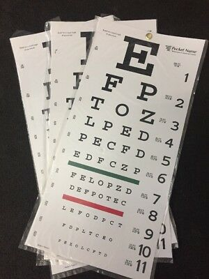 "NEW LOT OF 3 POCKET NURSE Eye Chart Vision Test Letter Wall Chart 22""x10.5"""