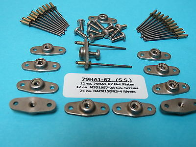 #6-32 Stainless Steel Anchor Nutplate + Install Kit (12) With SS Screws & Rivets