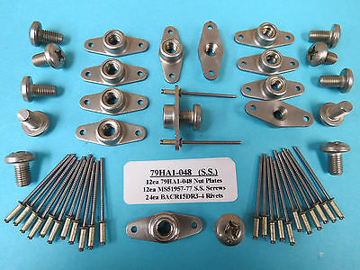 1/4-28 Stainless Steel Anchor Nutplate + Install Kit (12) With SS Screws +Rivets