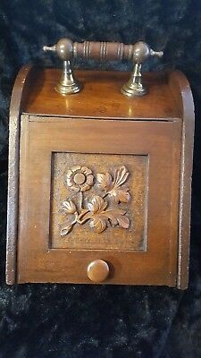 Antique Victorian Coal Scuttle Box Brass Hardware hand carved