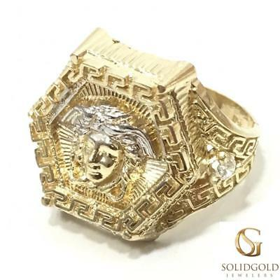 New 10K Yellow Gold 21 Mm Wide Greek Beauty Lady Hip Hop Style Ring 7299