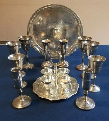 Mixed Lot Silver Plate ,16 Pcs,  Inc. Chased Gallery Tray And Egg Cups & Stand