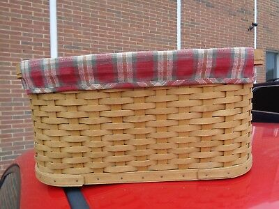 Longaberger Small Workload Basket Combo With Orchard Plaid Liner