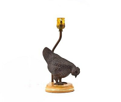 A Vintage Japanese Meiji Style Patinated Bronze Lamp Of A Rooster Zodiac