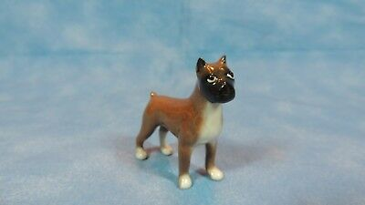 """Collectible Figurine - Tiny Porcelain Brown Boxer - Dog - 2"""" by 2"""" - CUTE"""