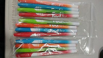 Fedex Ball Point Pens Blue Ink Lot Of 12  New. 4 Diffrent Body Colors.