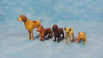 Collectible Five (5) Tiny Carved Wooden DOGS - Good Condition - Shades of Brown