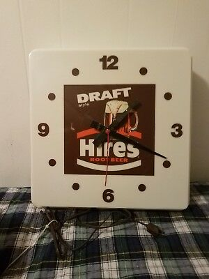 ORIGINAL HIRES Draft ROOT BEER  ADVERTISING CLOCK SIGN RARE DINER non working