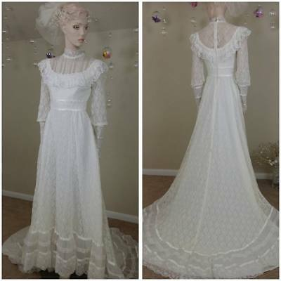Vintage 70's handmade lace ivory Victorian style wedding gown with train
