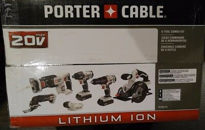 Brand New Porter-Cable Pcck6116 20V Max Lithium Ion 6-Tool Combo Kit !!
