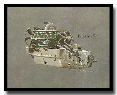 Packard Twin Six engine framed cutaway picture