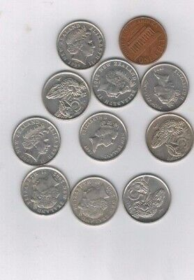 New Zealand lot (10)5 cent DRAGON  10 COINS  wholesale collection
