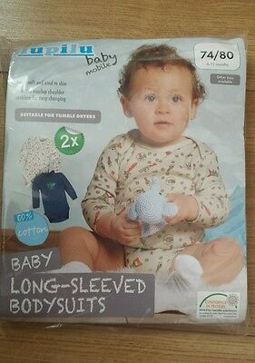 x2 Lupilu Long Sleeved Bodysuits  size 6-12mths NEW FREE P&P