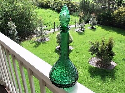 Genie bottle. Retro green glass with stopper. 35.5 cm tall (with stopper)