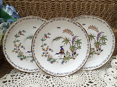 TUSCAN BCM 1920s CHINA SAUCER SET OF 3 - BIRDS BUTTERFLIES FLORAL GILDED