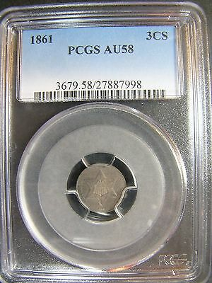 1861 Three Cent Silver PCGS AU 58 Cert# 27887998
