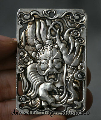 6CM Chinese Miao Silver Dynasty Dragon Dragons Loong Skull Head Pendant Amulet