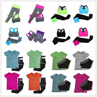Women Yoga Workout Clothes Fitness Gym Running Sports Bra Pants Set Spandex Suit
