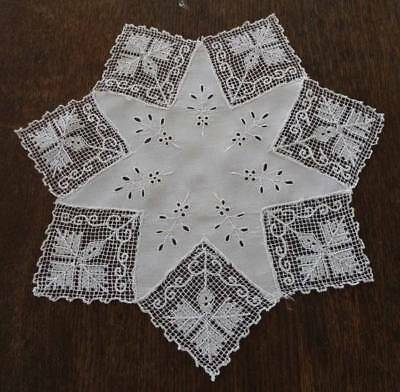 Vintage Linen & Filet Lacis Star Doily Embroidered Snowflake Lace Edge