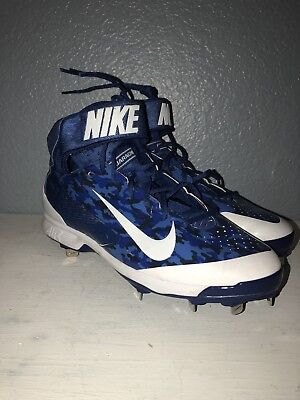 new arrivals 35513 82e32 Nike Mens Air Huarache Pro Mid MTL Size 13 Blue Camo Baseball Cleats 599235  499