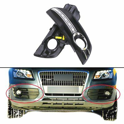For Audi Q5 09-12 1 Pair White DRL Lights LED Front Fog Lamps Grille Grill Cover