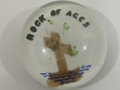 19th Century Folk Art Painted Milk Glass And Glass Paperweight Rock Of Ages