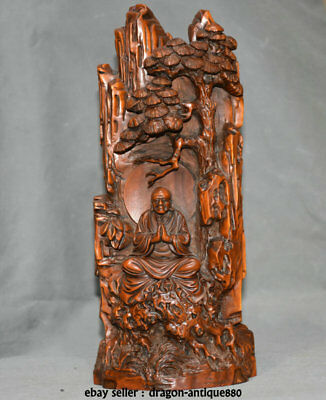 """8.4"""" Old China Boxwood Wood Carving Dynasty Pine Tree Arhat Luohan Buddha Statue"""