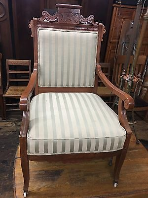 Antique Eastlake? Victorian Style Side Chair Carved Wood Nice
