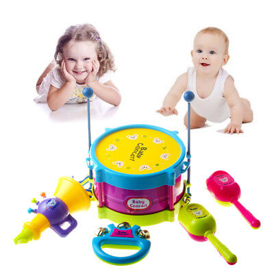 5pcs Baby Drum Musical Instrument Drums Set Kids Gift Development  Toys AU Stock