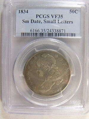1834 Capped Bust Half Dollar PCGS VF 35 Cert # 24338871 Small Date Small Letters