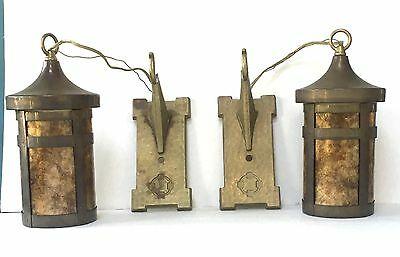 Pair of Arts & Crafts mica lanterns sconces lamps