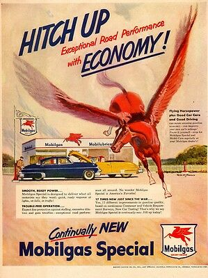 1950 vintage AD MOBILGAS  Art Flying red horse  in front of gas station  031417