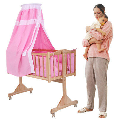 Baby Child Cradle Nursery Side Bed Toddler Daybed Furniture W/Canopy Pink