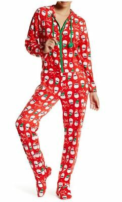 PJ Couture Womens XL Fleece One Piece Red Santa Print Hooded Pajamas NWT 56a36d37b